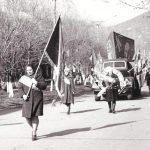 швейный цех на параде 7 ноября 1977